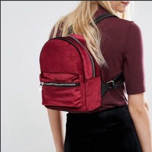 Pull&Bear Mini red wine velvet backpack